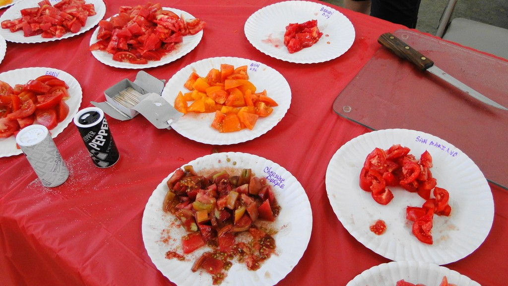 Tasting table close up    Tomato Fest XI   Aug 8 2015  mmv